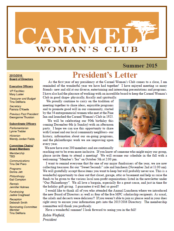 Carmel Womans Club 2015 Summer Newsletter
