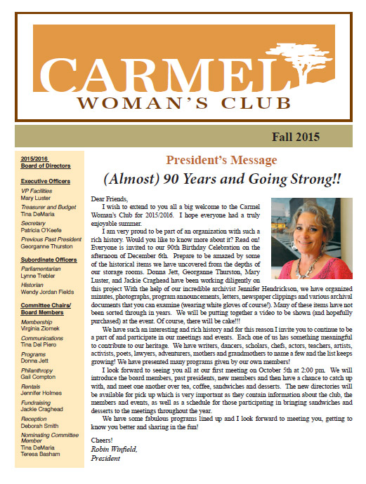 Carmel Women's Club Fall Newsletter